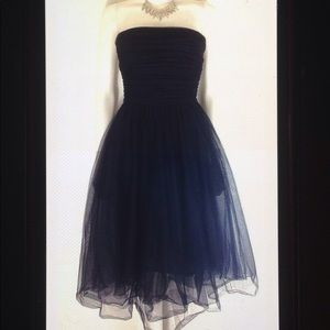 J Crew Pleated Tulle Strapless Formal Dress